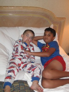 Matthew and Keenan, 2007 hanging out in their Superman Jammies