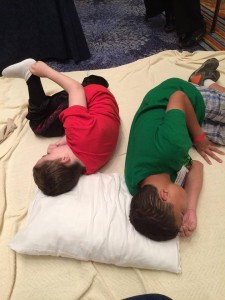 Matthew and Keenan on their blanket oasis, Chicago 2015
